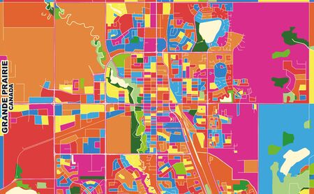 Colorful vector map of Grande Prairie, Alberta, Canada. Art Map template for selfprinting wall art in landscape format.