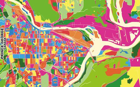 Colorful vector map of Prince George, British Columbia, Canada. Art Map template for selfprinting wall art in landscape format.