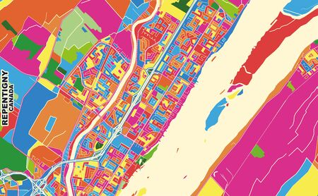 Colorful vector map of Repentigny, Quebec, Canada. Art Map template for selfprinting wall art in landscape format.