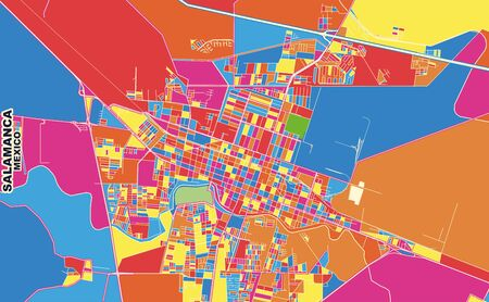 Colorful vector map of Salamanca, Guanajuato, Mexico. Art Map template for selfprinting wall art in landscape format.