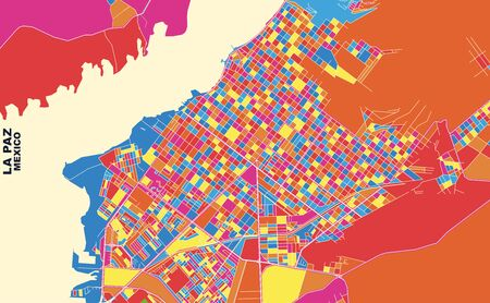 Colorful vector map of La Paz, Baja California Sur, Mexico. Art Map template for selfprinting wall art in landscape format.