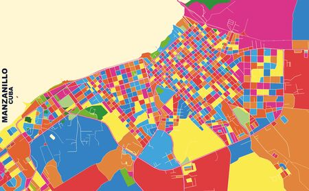 Colorful vector map of Manzanillo, Granma, Cuba. Art Map template for selfprinting wall art in landscape format.