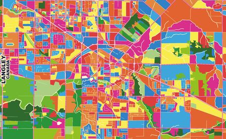 Colorful vector map of Langley, British Columbia, Canada. Art Map template for selfprinting wall art in landscape format.