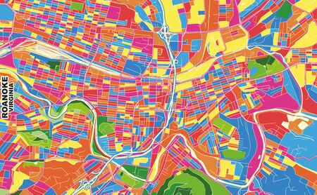 Colorful vector map of Roanoke, Virginia, USA. Art Map template for selfprinting wall art in landscape format.