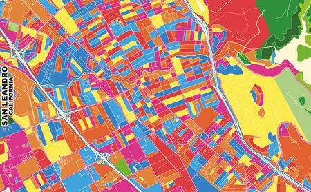 Colorful vector map of San Leandro, California, USA. Art Map template for selfprinting wall art in landscape format. Vettoriali