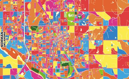 Colorful vector map of Norman, Oklahoma, USA. Art Map template for selfprinting wall art in landscape format.