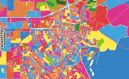 Colorful vector map of Lafayette, Louisiana, USA. Art Map template for selfprinting wall art in landscape format.