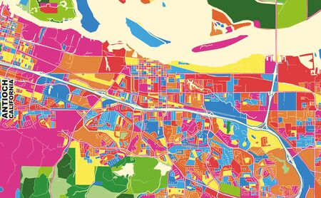 Colorful vector map of Antioch, California, USA. Art Map template for selfprinting wall art in landscape format. Illustration