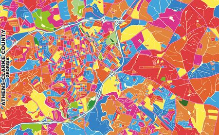 Colorful vector map of Athens-Clarke County, Georgia, USA. Art Map template for selfprinting wall art in landscape format.