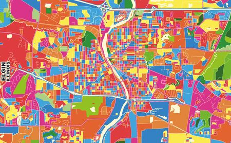 Colorful vector map of Elgin, Illinois, USA. Art Map template for selfprinting wall art in landscape format.