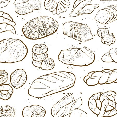 Outline version of Hand drawn sketch to a loosely arranged wallpaper wall arranging bread and pastries. Colored vector sketch of a composition with different European and American bread types