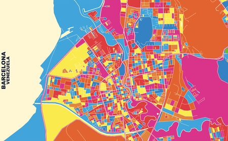 Colorful vector map of Barcelona, Venezuela. Art Map template for selfprinting wall art in landscape format. Vettoriali