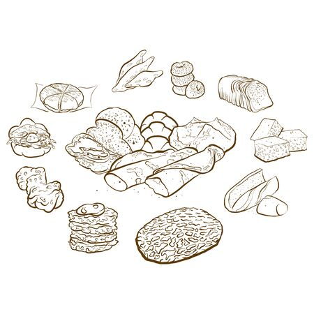 Outline version of Circle shape composition from hand drawn bread. Rich coloured vector illustration for bakery shops. Bread poster composition concept Stok Fotoğraf - 146265373