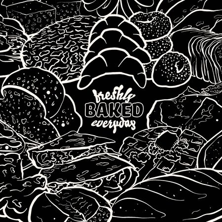 Outline version of Freshly baked everyday label with illustrations of various types of bread. Coloured sketches arranged around the lettering in a full circle on blackboard
