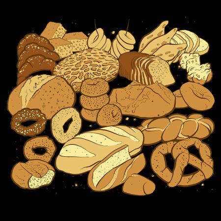 Hand drawn sketched breads to a square arranged format. Very detailed colored vector sketch of a composition with different European and American bread types on blackboard.