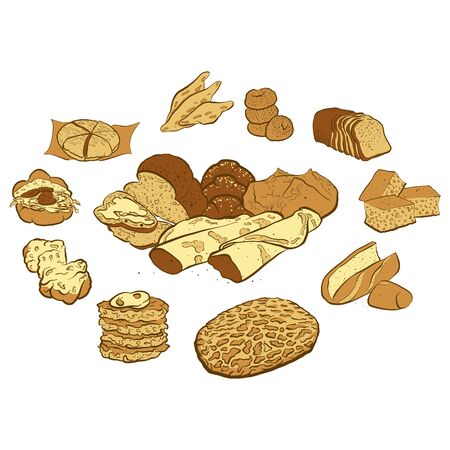 Circle shape composition from hand drawn bread. Rich coloured vector illustration for bakery shops. Bread poster composition concept on white background.