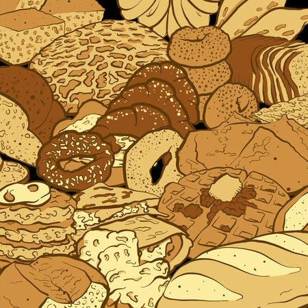 Very detailed colored vector sketch of a composition with different types of bread. Hand drawn area filling sketch on blackboard.
