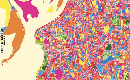 Colorful vector map of Porto Alegre, Brazil. Art Map template for selfprinting wall art in landscape format.