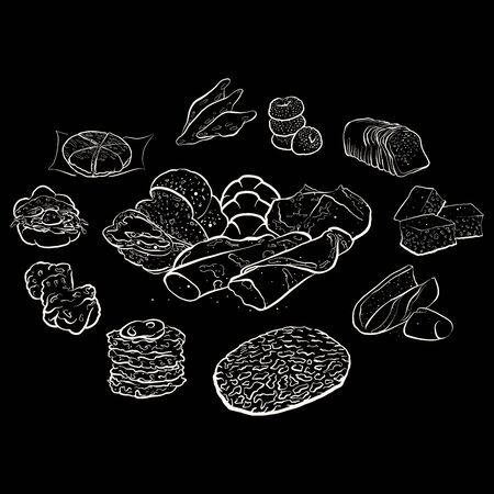 Outline version of Circle shape composition from hand drawn bread. Rich coloured vector illustration for bakery shops. Bread poster composition concept on blackboard
