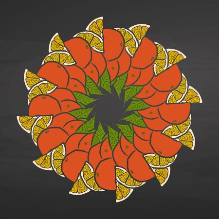 Colorful oranges arranged in a circle. Seamless round composition with hand drawn fruits. Vector illustration on blackboard.