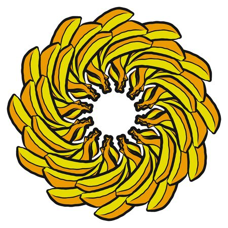 Many bananas arranged in a circle. Seamless round composition with hand drawn fruits. Vector illustration on white background. Ilustracja