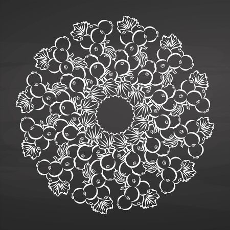 Chalk sketch of currants arranged in a circle. Seamless round composition with hand drawn fruits. Vector illustration on chalkboard.