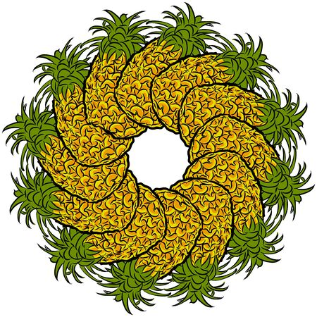 Many pineapples arranged in a circle. Seamless round composition with hand drawn fruits. Vector illustration on white background. Ilustracja