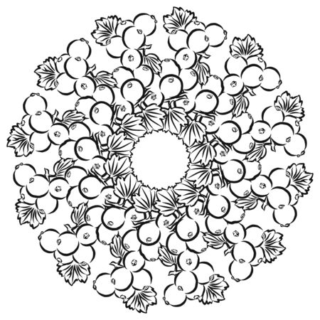 Outline version of currants arranged in a circle. Seamless round composition with hand drawn fruits. Vector illustration on white