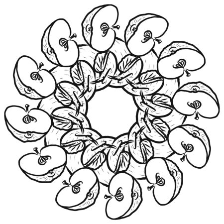 Outline version of apples arranged in a circle. Seamless round composition with hand drawn fruits. Vector illustration on white