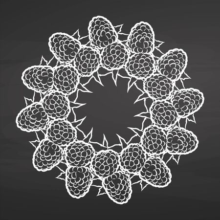 Chalk sketch of raspberries arranged in a circle. Seamless round composition with hand drawn fruits. Vector illustration on chalkboard.