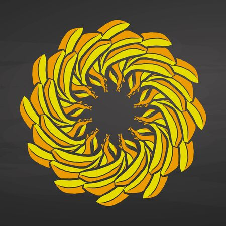Colorful bananas arranged in a circle. Seamless round composition with hand drawn fruits. Vector illustration on blackboard. Ilustracja
