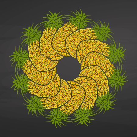 Colorful pineapples arranged in a circle. Seamless round composition with hand drawn fruits. Vector illustration on blackboard. Ilustracja