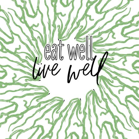 eat well, live well lettering on outlined Lettuce banner template. Hand drawn veggies with handwritten letters on white.