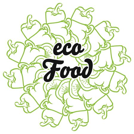 eco Food sign on background of Peppers. Round composition with hand-drawn veggies for art prints.