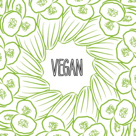 VEGAN lettering on outlined Cucumbers banner template. Hand drawn veggies with handwritten letters on white. Ilustracja