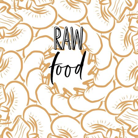RAW food lettering on outlined Mushrooms banner template. Hand drawn veggies with handwritten letters on white.