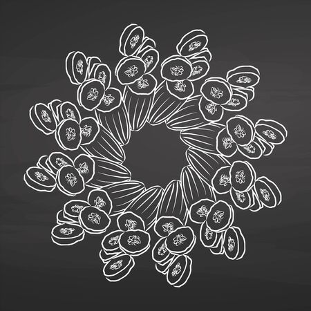 Outline version of Cucumbers arranged in a circle. Seamless round composition with hand drawn veggies. Vector illustration on blackboard