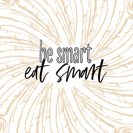 be smart, eat smart lettering on outlined Carrots banner template. Hand drawn veggies with handwritten letters on white.
