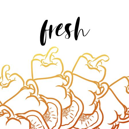 fresh lettering on outlined Peppers banner template. Hand drawn veggies with handwritten letters on white.