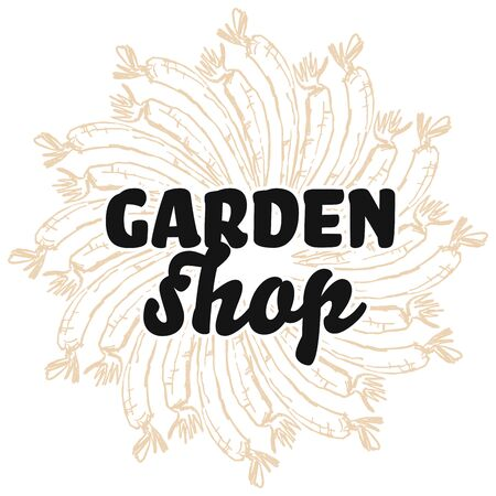 garden shop sign on background of Carrots. Round composition with hand-drawn veggies for art prints.