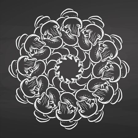 Outline version of Mushrooms arranged in a circle. Seamless round composition with hand drawn veggies. Vector illustration on blackboard
