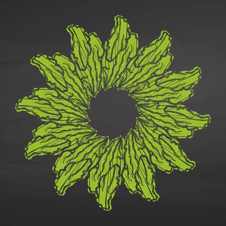 Lettuce arranged in a circle. Seamless round composition with hand drawn veggies. Vector illustration on blackboard.