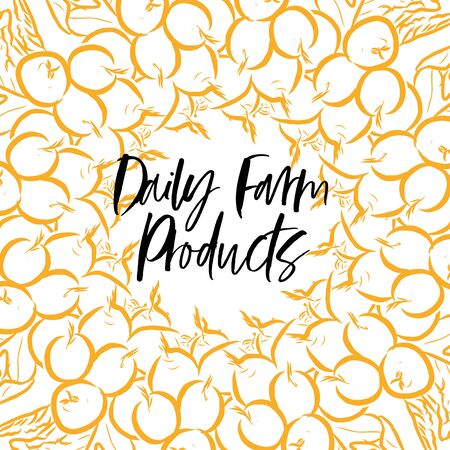Daily Farm Products lettering on outlined Radishes banner template. Hand drawn veggies with handwritten letters on white.