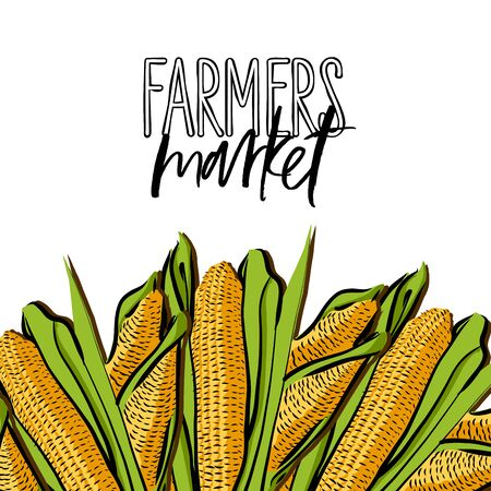 FARMERS market lettering and Corncob advertising template. Hand drawn Illustration, handwritten on white background. Ilustracja