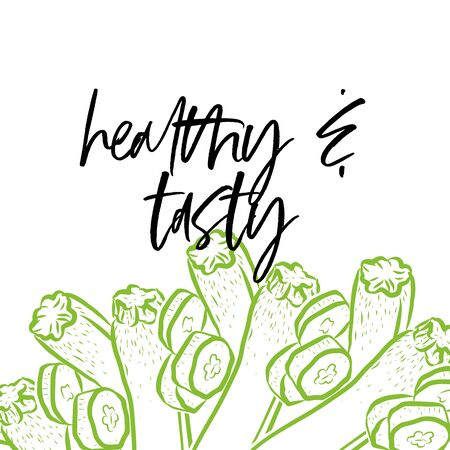 healthy & tasty lettering on outlined Courgettes banner template. Hand drawn veggies with handwritten letters on white. Ilustracja