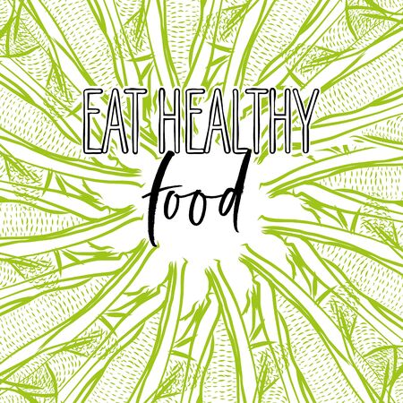 eat healthy food lettering on outlined Corncob banner template. Hand drawn veggies with handwritten letters on white. Ilustracja