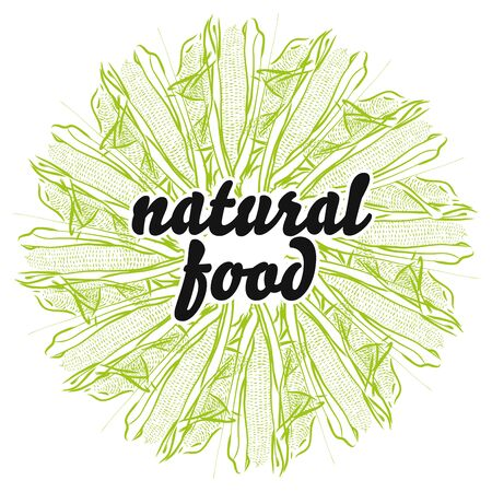 natural food sign on background of Corncob. Round composition with hand-drawn veggies for art prints.