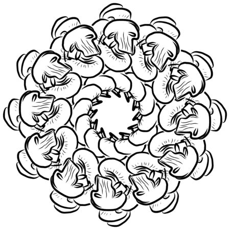 Outline version of Mushrooms arranged in a circle. Seamless round composition with hand drawn veggies. Vector illustration