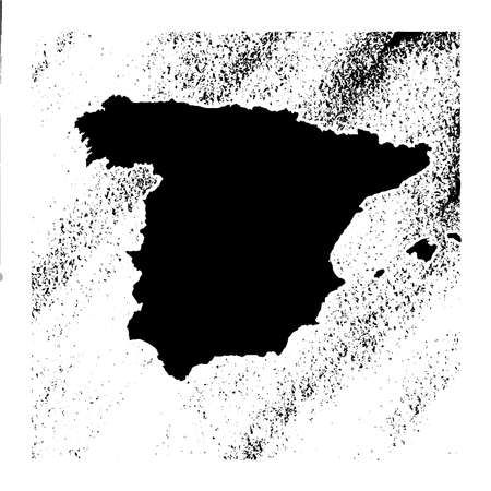 Spanish map on vintage background. Black and white hand drawn illustration. Icon sign for print and labeling. Ilustração
