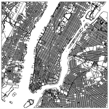 Manhattan nyc map lineart. Black and white hand drawn illustration. Icon sign for print and labeling. Vecteurs